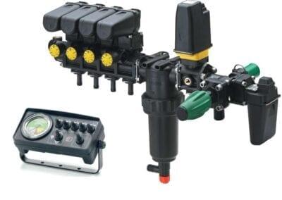 Mando eléctrico de 3, 5 o 7 tramos de pulverización y retornos calibrados